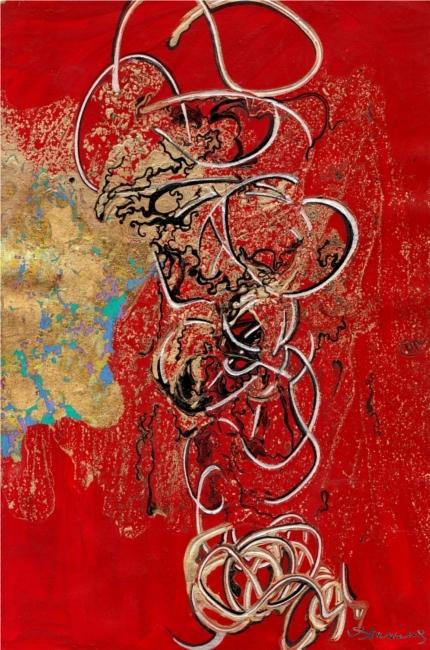 Gold-slick-against-red-surface.Lynda.Stevens